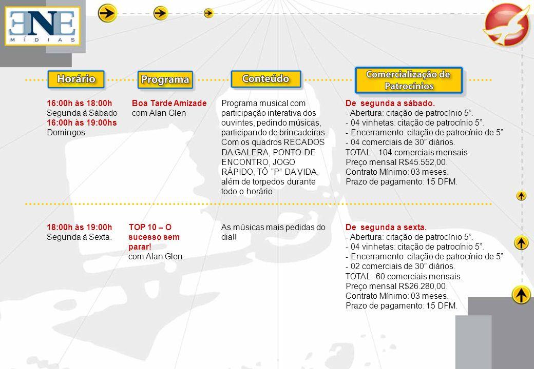 18:00h às 19:00h Sábado Sambadão Caiobá FM com Alan Glen As maiores bandas de samba e pagode do Brasil, as novas tendências.