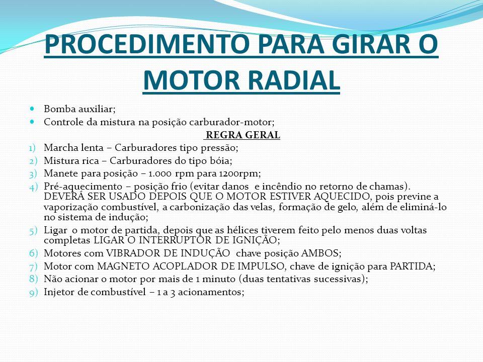 PROCEDIMENTO PARA GIRAR O MOTOR RADIAL Bomba auxiliar; Controle da mistura na posição carburador-motor; REGRA GERAL 1) Marcha lenta – Carburadores tip