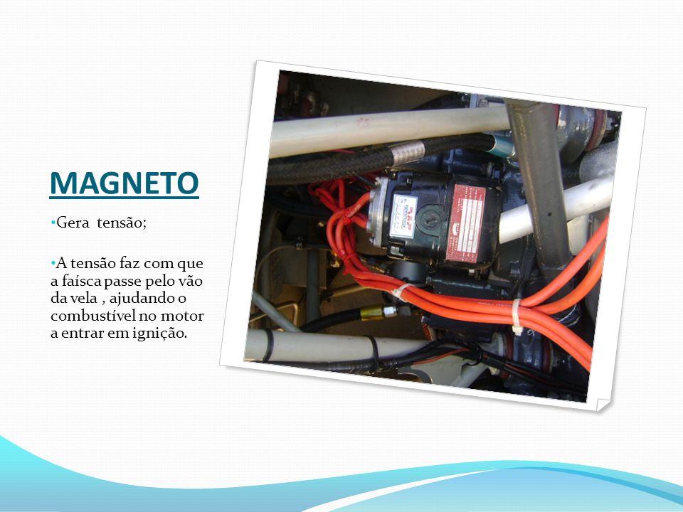 MAGNETO Gera tensão; A tensão faz com que a faísca passe pelo vão da vela, ajudando o combustível no motor a entrar em ignição.