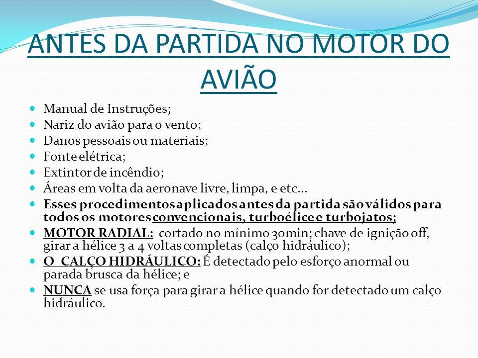 ANTES DA PARTIDA NO MOTOR DO AVIÃO Manual de Instruções; Nariz do avião para o vento; Danos pessoais ou materiais; Fonte elétrica; Extintor de incêndi