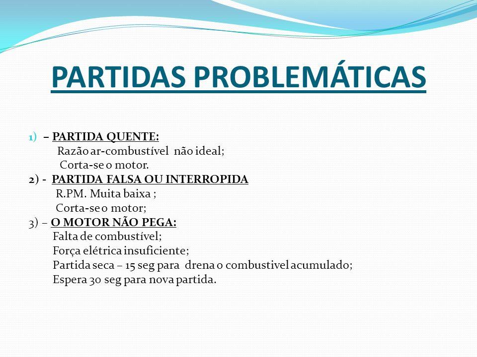 PARTIDAS PROBLEMÁTICAS 1) – PARTIDA QUENTE: Razão ar-combustível não ideal; Corta-se o motor. 2) - PARTIDA FALSA OU INTERROPIDA R.PM. Muita baixa ; Co