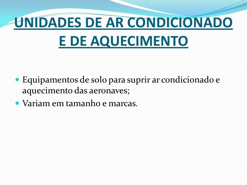 UNIDADES DE AR CONDICIONADO E DE AQUECIMENTO Equipamentos de solo para suprir ar condicionado e aquecimento das aeronaves; Variam em tamanho e marcas.