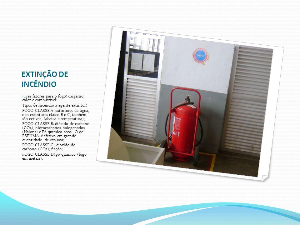 EXTINÇÃO DE INCÊNDIO Três fatores para o fogo: oxigênio, calor e combustível: Tipos de incêndio x agente extintor: FOGO CLASSE A: extintores de água,