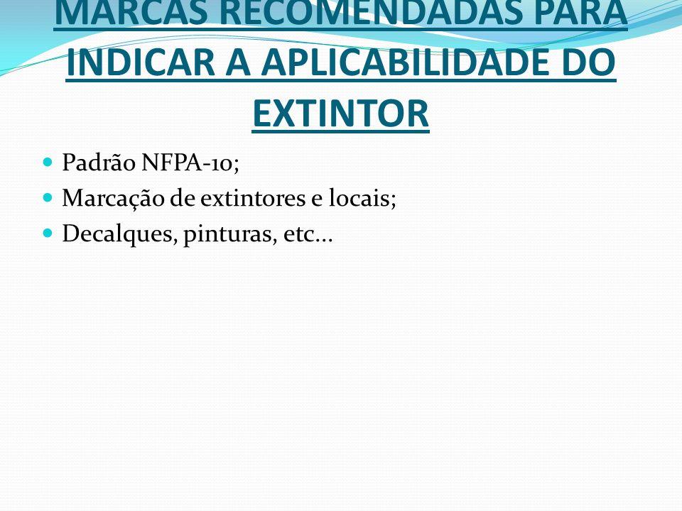 MARCAS RECOMENDADAS PARA INDICAR A APLICABILIDADE DO EXTINTOR Padrão NFPA-10; Marcação de extintores e locais; Decalques, pinturas, etc...