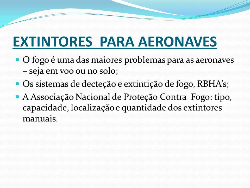EXTINTORES PARA AERONAVES O fogo é uma das maiores problemas para as aeronaves – seja em voo ou no solo; Os sistemas de decteção e extintição de fogo,