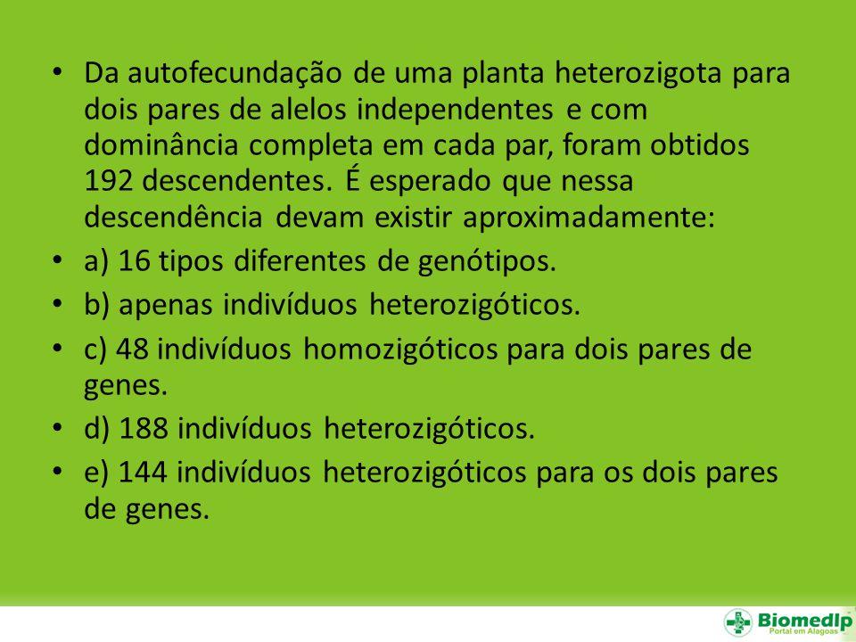 Da autofecundação de uma planta heterozigota para dois pares de alelos independentes e com dominância completa em cada par, foram obtidos 192 descende