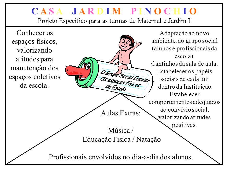 C A S A J A R D I M P I N O C H I O Projeto Especifico para as turmas de Maternal e Jardim I Aulas Extras: Música / Educação Física / Natação Profissi