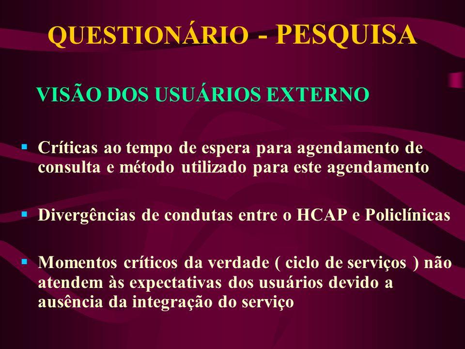 QUESTIONÁRIO - PESQUISA AVALIAÇÃO DO GRAU DE SATISFAÇÃO DO USUÁRIO EXTERNO DO HCAP E POLICLÍNICAS PERCEPÇÃO DO USUÁRIO PRESTAÇÃO DO COMUNICAÇÃO SERVIÇ
