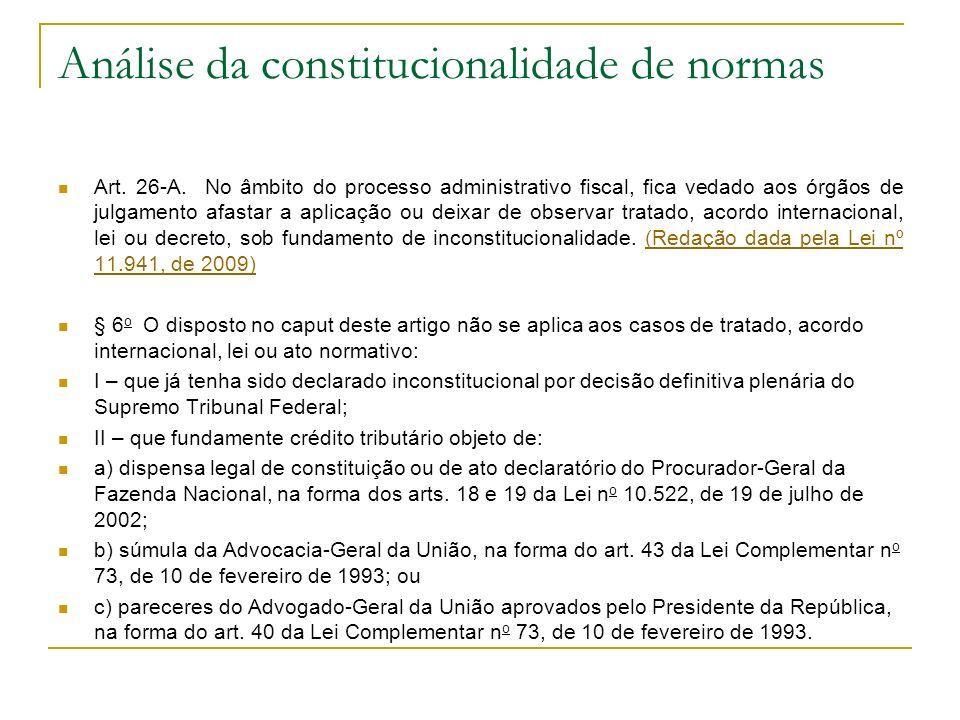 Análise da constitucionalidade de normas Art. 26-A. No âmbito do processo administrativo fiscal, fica vedado aos órgãos de julgamento afastar a aplica