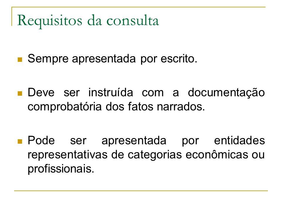 Requisitos da consulta Sempre apresentada por escrito. Deve ser instruída com a documentação comprobatória dos fatos narrados. Pode ser apresentada po