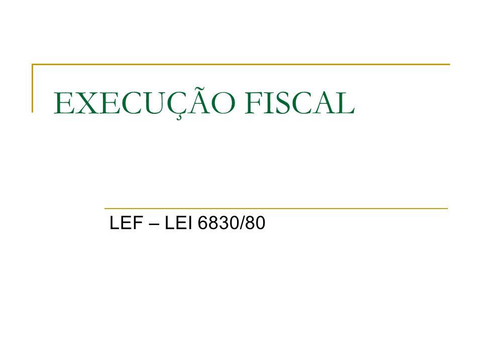 EXECUÇÃO FISCAL LEF – LEI 6830/80
