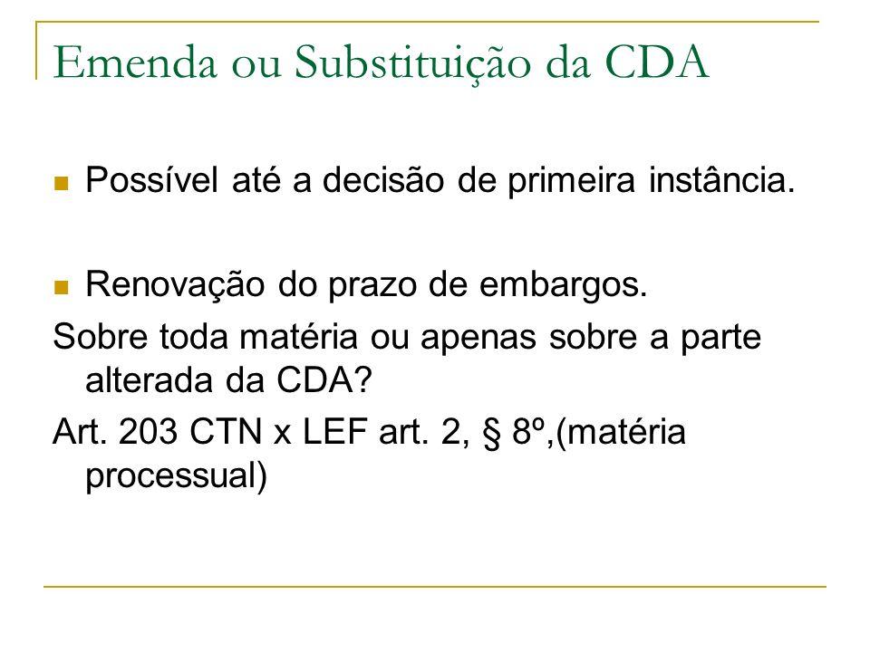 Emenda ou Substituição da CDA Possível até a decisão de primeira instância. Renovação do prazo de embargos. Sobre toda matéria ou apenas sobre a parte