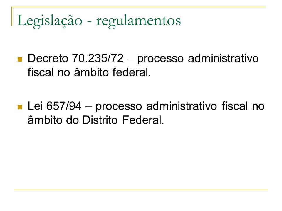 Legislação - regulamentos Decreto 70.235/72 – processo administrativo fiscal no âmbito federal. Lei 657/94 – processo administrativo fiscal no âmbito