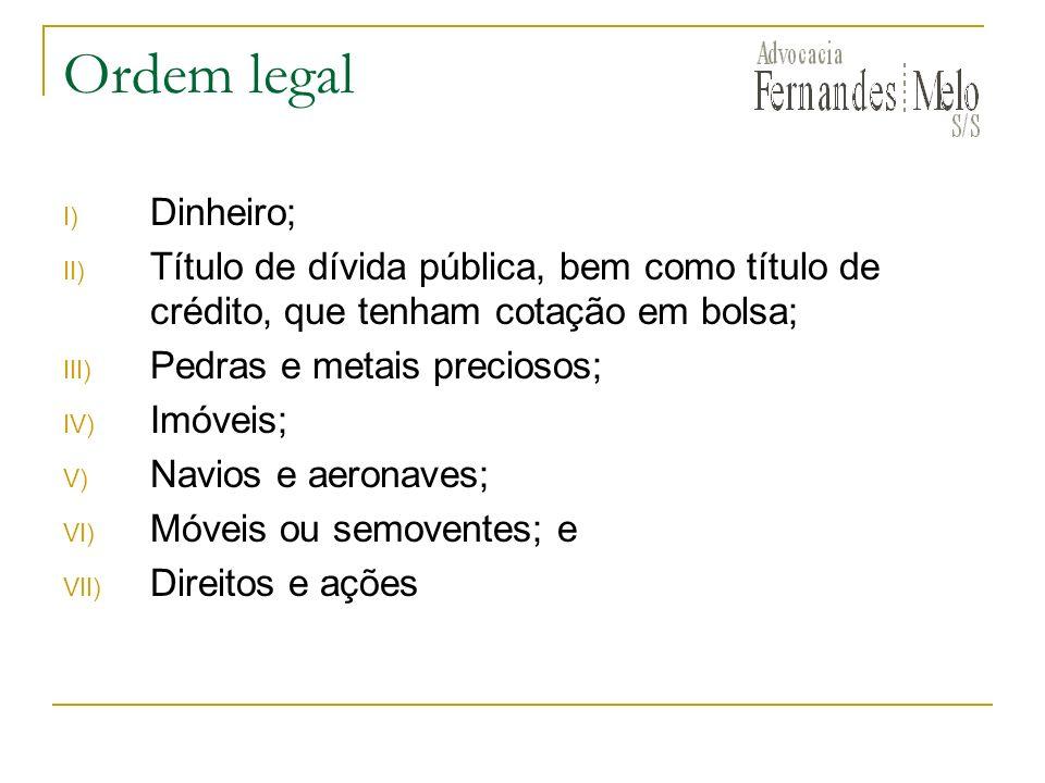 Ordem legal I) Dinheiro; II) Título de dívida pública, bem como título de crédito, que tenham cotação em bolsa; III) Pedras e metais preciosos; IV) Im
