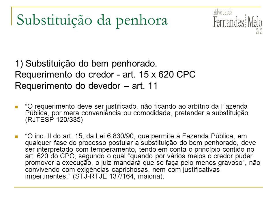 Substituição da penhora 1) Substituição do bem penhorado. Requerimento do credor - art. 15 x 620 CPC Requerimento do devedor – art. 11 O requerimento