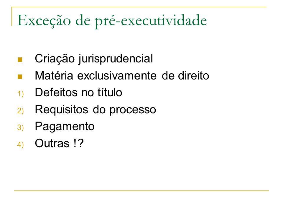 Exceção de pré-executividade Criação jurisprudencial Matéria exclusivamente de direito 1) Defeitos no título 2) Requisitos do processo 3) Pagamento 4)