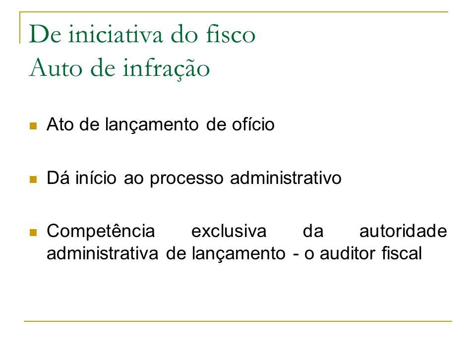 De iniciativa do fisco Auto de infração Ato de lançamento de ofício Dá início ao processo administrativo Competência exclusiva da autoridade administr
