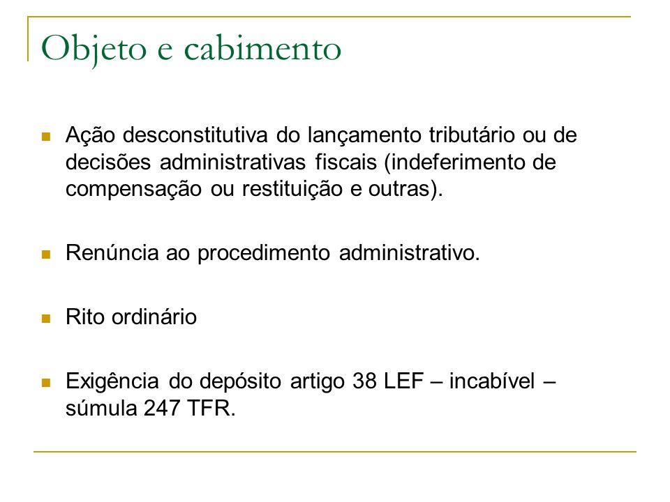 Objeto e cabimento Ação desconstitutiva do lançamento tributário ou de decisões administrativas fiscais (indeferimento de compensação ou restituição e