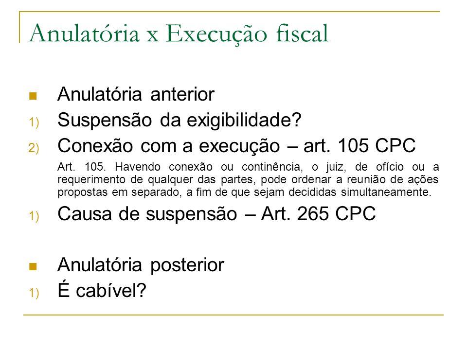 Anulatória x Execução fiscal Anulatória anterior 1) Suspensão da exigibilidade? 2) Conexão com a execução – art. 105 CPC Art. 105. Havendo conexão ou