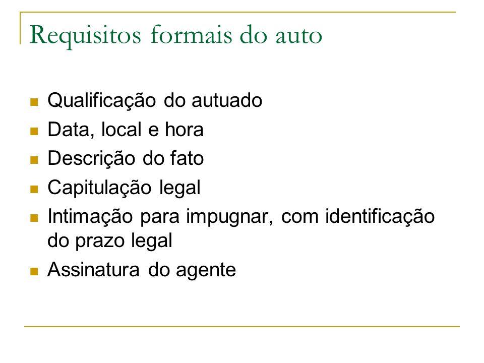 Requisitos formais do auto Qualificação do autuado Data, local e hora Descrição do fato Capitulação legal Intimação para impugnar, com identificação d