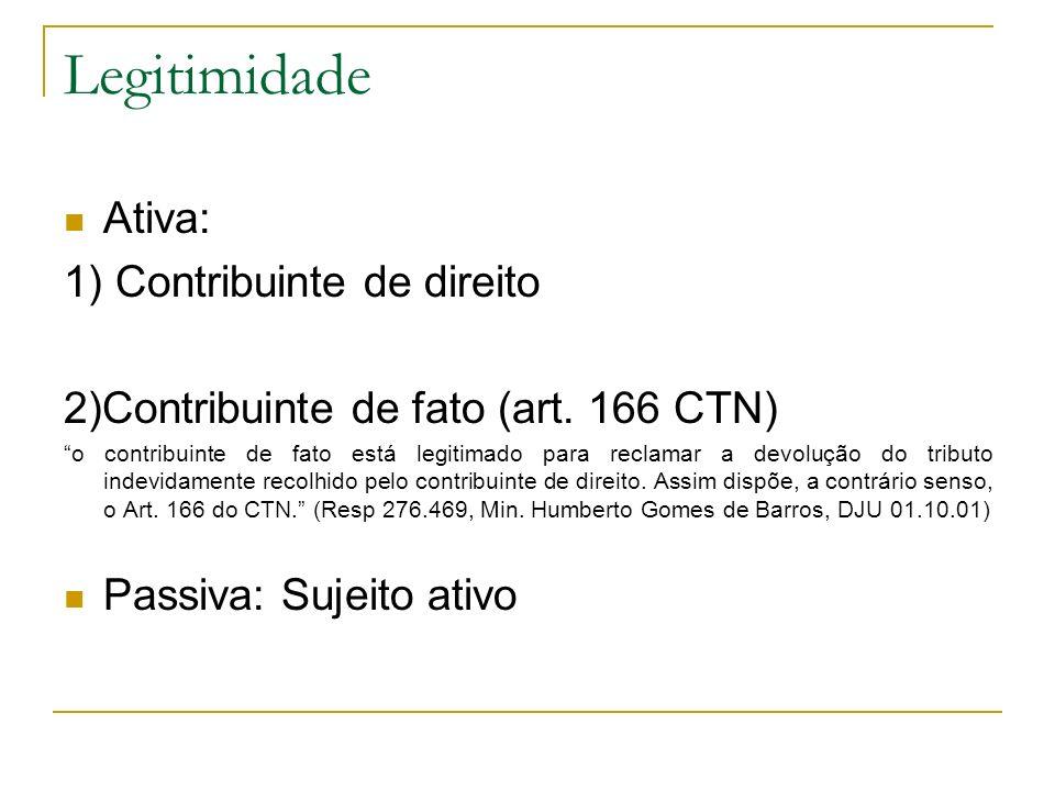 Legitimidade Ativa: 1) Contribuinte de direito 2)Contribuinte de fato (art. 166 CTN) o contribuinte de fato está legitimado para reclamar a devolução