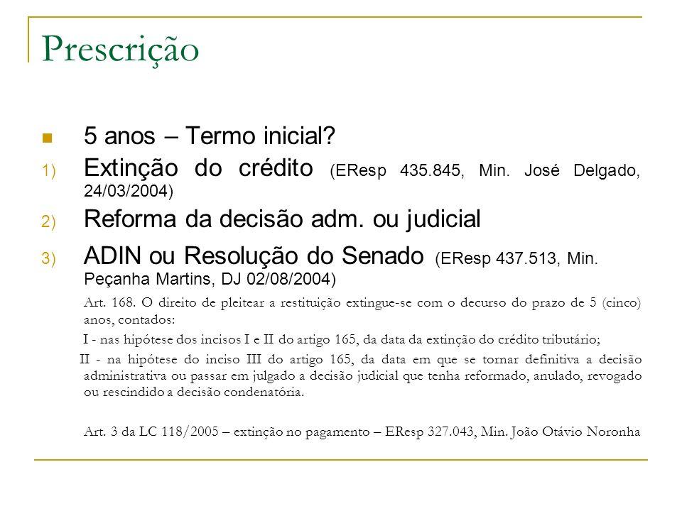 Prescrição 5 anos – Termo inicial? 1) Extinção do crédito (EResp 435.845, Min. José Delgado, 24/03/2004) 2) Reforma da decisão adm. ou judicial 3) ADI