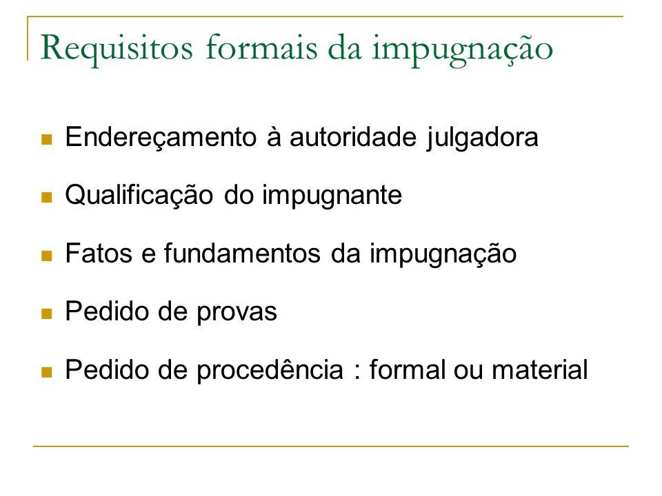 Requisitos formais da impugnação Endereçamento à autoridade julgadora Qualificação do impugnante Fatos e fundamentos da impugnação Pedido de provas Pe