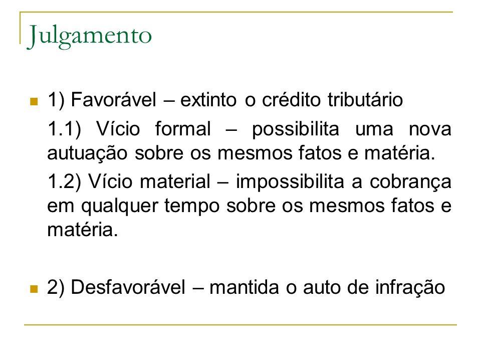 Julgamento 1) Favorável – extinto o crédito tributário 1.1) Vício formal – possibilita uma nova autuação sobre os mesmos fatos e matéria. 1.2) Vício m