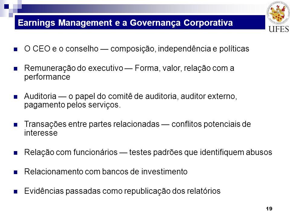 19 O CEO e o conselho composição, independência e políticas Remuneração do executivo Forma, valor, relação com a performance Auditoria o papel do comi