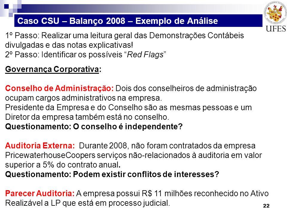 Caso CSU – Balanço 2008 – Exemplo de Análise 22 1º Passo: Realizar uma leitura geral das Demonstrações Contábeis divulgadas e das notas explicativas!