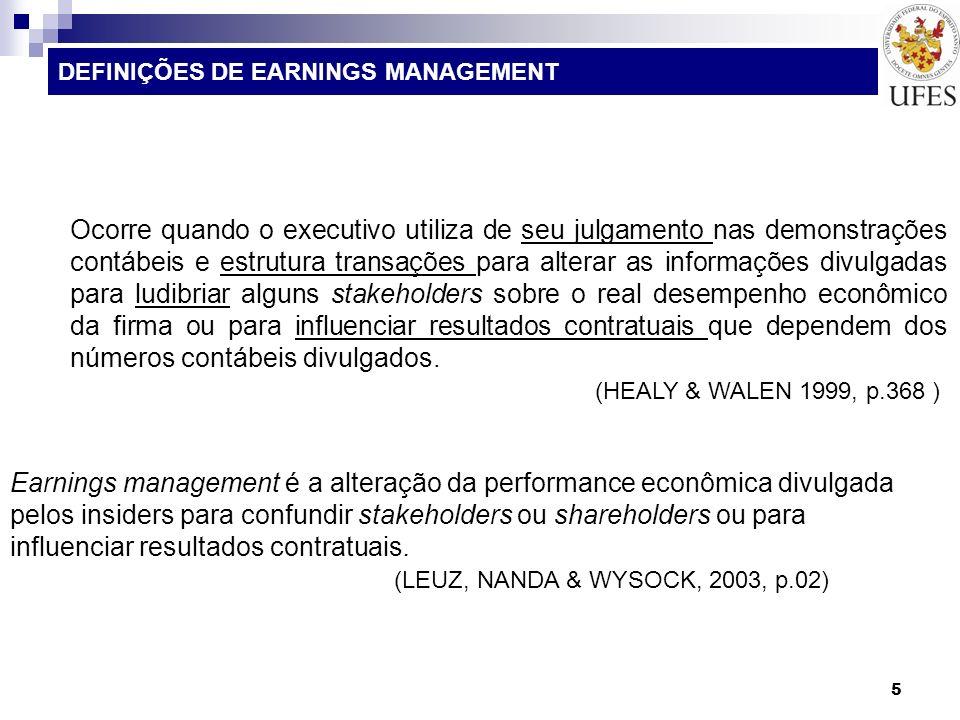 26 ALGUNS MODELOS DE PESQUISA SOBRE EARNINGS MANAGEMENT Gerenciamento de resultados contábeis no âmbito das instituições financeiras atuantes no Brasil.