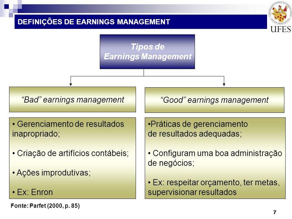 38 DEFINIÇÕES DE EARNINGS MANAGEMENT PARFET (2000, p.