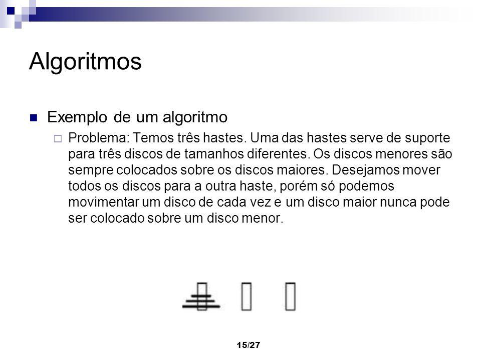 15/27 Algoritmos Exemplo de um algoritmo Problema: Temos três hastes. Uma das hastes serve de suporte para três discos de tamanhos diferentes. Os disc