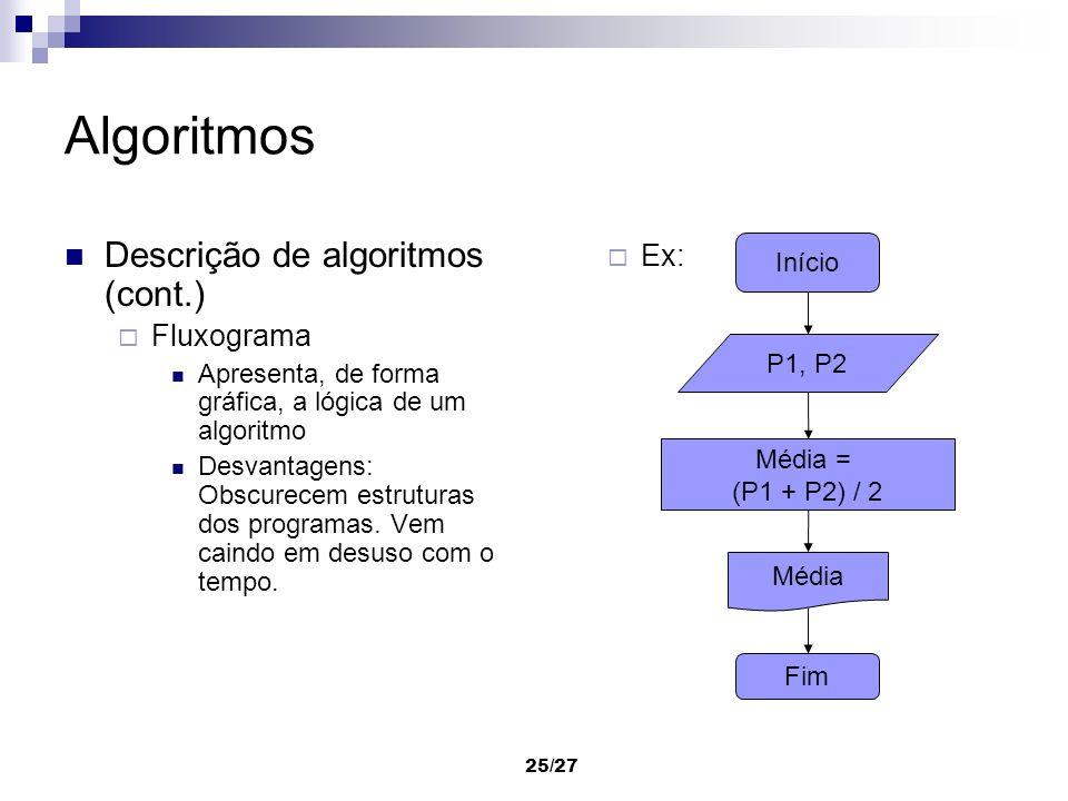 25/27 Algoritmos Descrição de algoritmos (cont.) Fluxograma Apresenta, de forma gráfica, a lógica de um algoritmo Desvantagens: Obscurecem estruturas