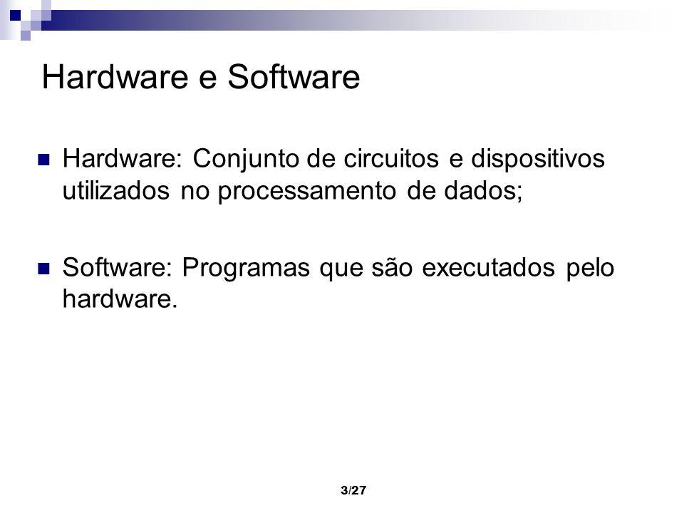 3/27 Hardware e Software Hardware: Conjunto de circuitos e dispositivos utilizados no processamento de dados; Software: Programas que são executados p