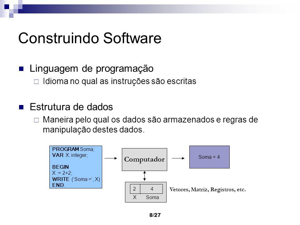8/27 Construindo Software Linguagem de programação Idioma no qual as instruções são escritas Estrutura de dados Maneira pelo qual os dados são armazen