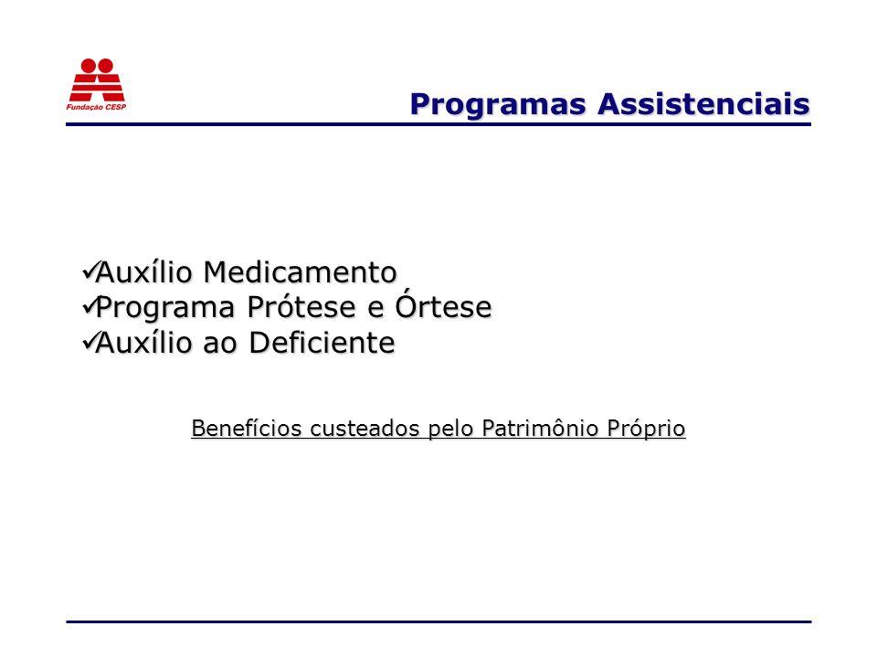Programas Assistenciais Auxílio Medicamento Auxílio Medicamento Programa Prótese e Órtese Programa Prótese e Órtese Auxílio ao Deficiente Auxílio ao D