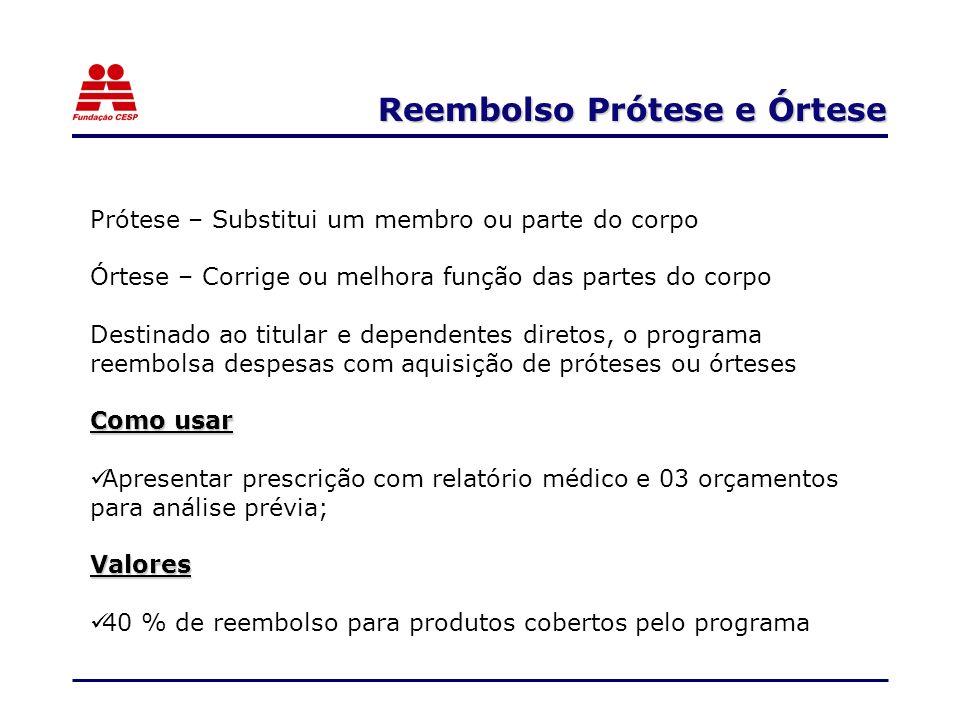 Reembolso Prótese e Órtese Prótese – Substitui um membro ou parte do corpo Órtese – Corrige ou melhora função das partes do corpo Destinado ao titular
