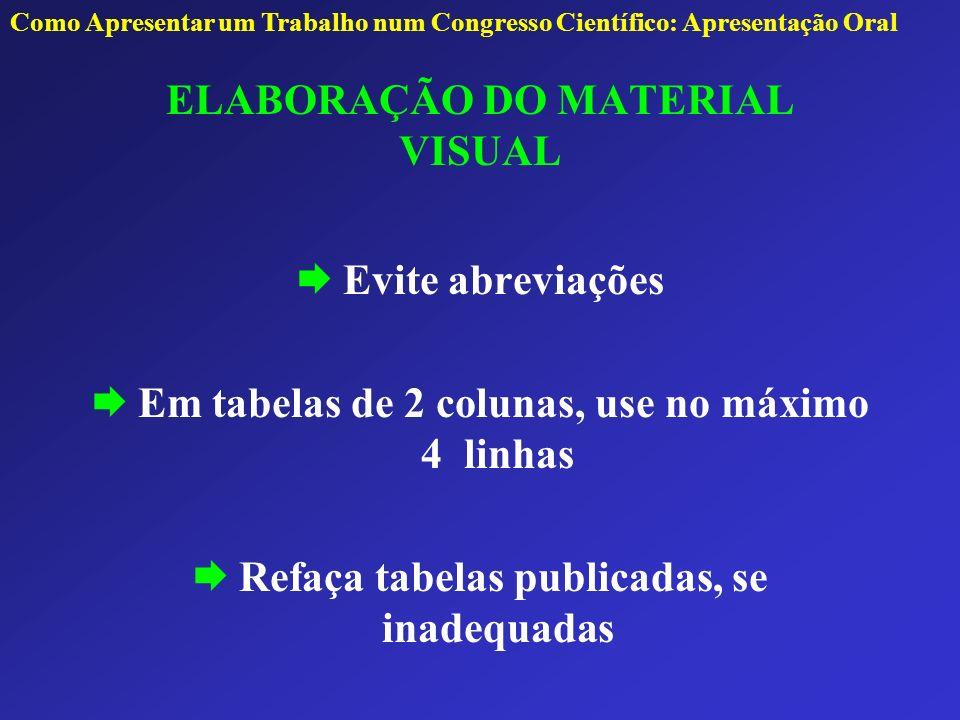 ELABORAÇÃO DO MATERIAL VISUAL Evite abreviações Em tabelas de 2 colunas, use no máximo 4 linhas Refaça tabelas publicadas, se inadequadas Como Apresen