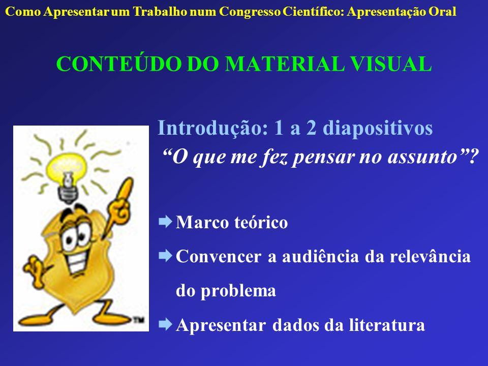 CONTEÚDO DO MATERIAL VISUAL Problema Objetivos Hipótese Justificativa: Por que eu fiz a pesquisa.