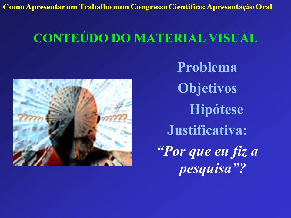 CONTEÚDO DO MATERIAL VISUAL Problema Objetivos Hipótese Justificativa: Por que eu fiz a pesquisa? Como Apresentar um Trabalho num Congresso Científico
