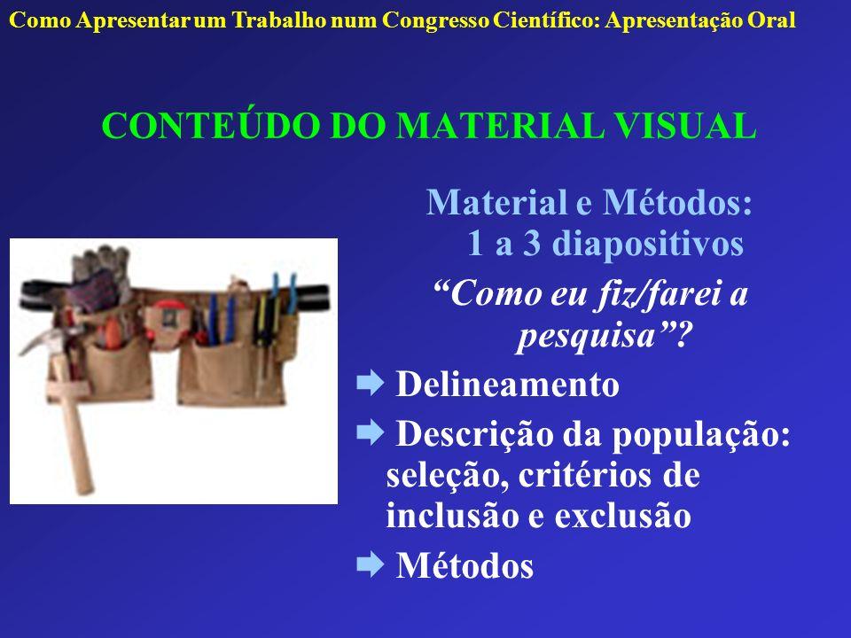 CONTEÚDO DO MATERIAL VISUAL Material e Métodos: 1 a 3 diapositivos Como eu fiz/farei a pesquisa? Delineamento Descrição da população: seleção, critéri