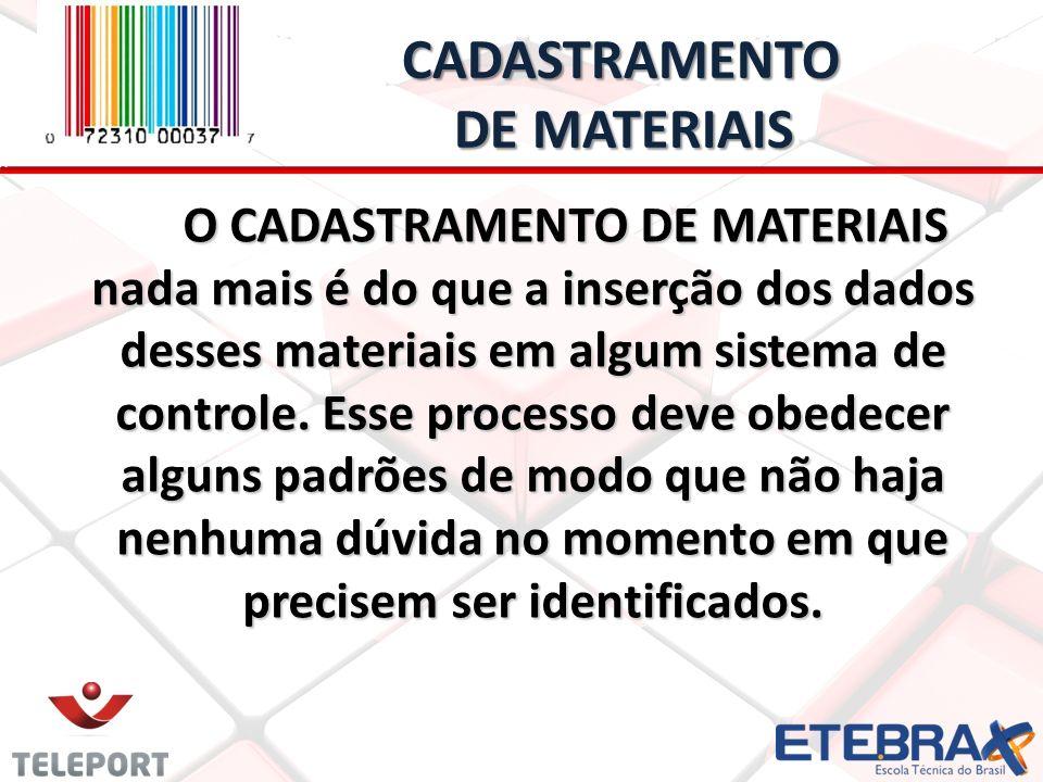 CADASTRAMENTO DE MATERIAIS CADASTRAMENTO DE MATERIAIS O CADASTRAMENTO DE MATERIAIS nada mais é do que a inserção dos dados desses materiais em algum s