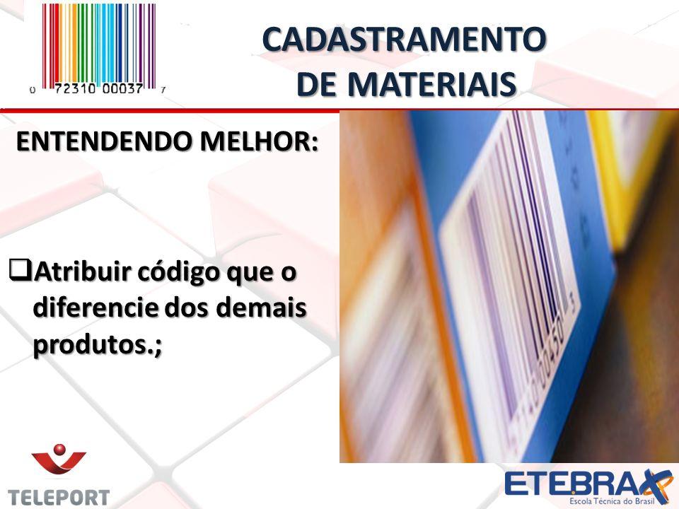 CADASTRAMENTO DE MATERIAIS CADASTRAMENTO DE MATERIAIS ENTENDENDO MELHOR: Atribuir código que o diferencie dos demais produtos.; Atribuir código que o