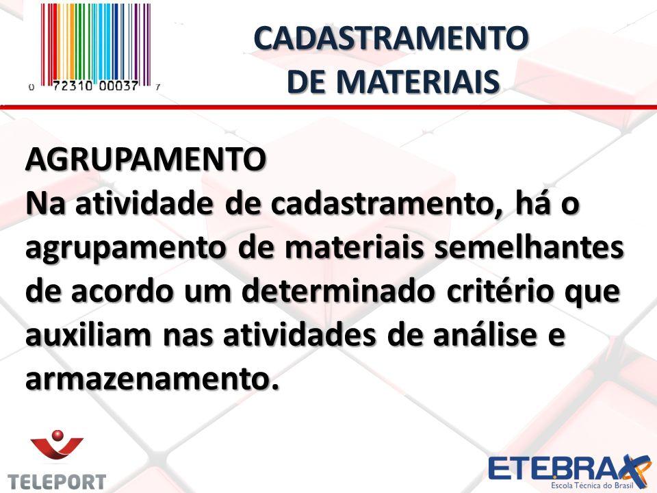 AGRUPAMENTO Na atividade de cadastramento, há o agrupamento de materiais semelhantes de acordo um determinado critério que auxiliam nas atividades de