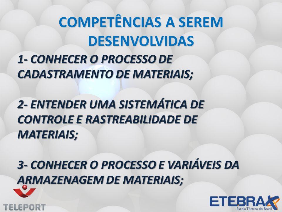 1- CONHECER O PROCESSO DE CADASTRAMENTO DE MATERIAIS; 2- ENTENDER UMA SISTEMÁTICA DE CONTROLE E RASTREABILIDADE DE MATERIAIS; 3- CONHECER O PROCESSO E