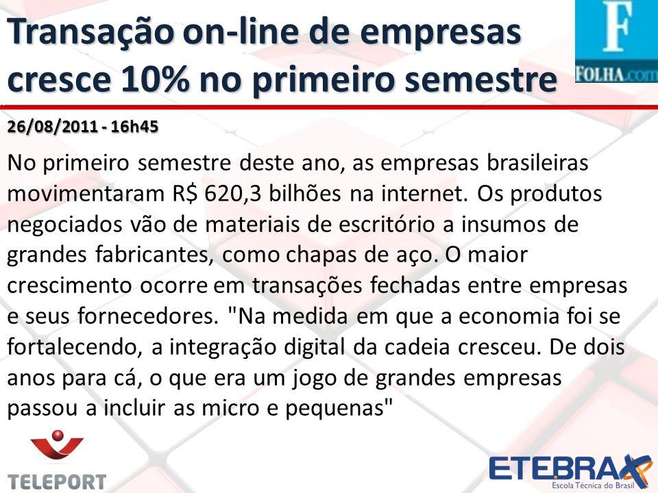 Transação on-line de empresas cresce 10% no primeiro semestre 26/08/2011 - 16h45 No primeiro semestre deste ano, as empresas brasileiras movimentaram