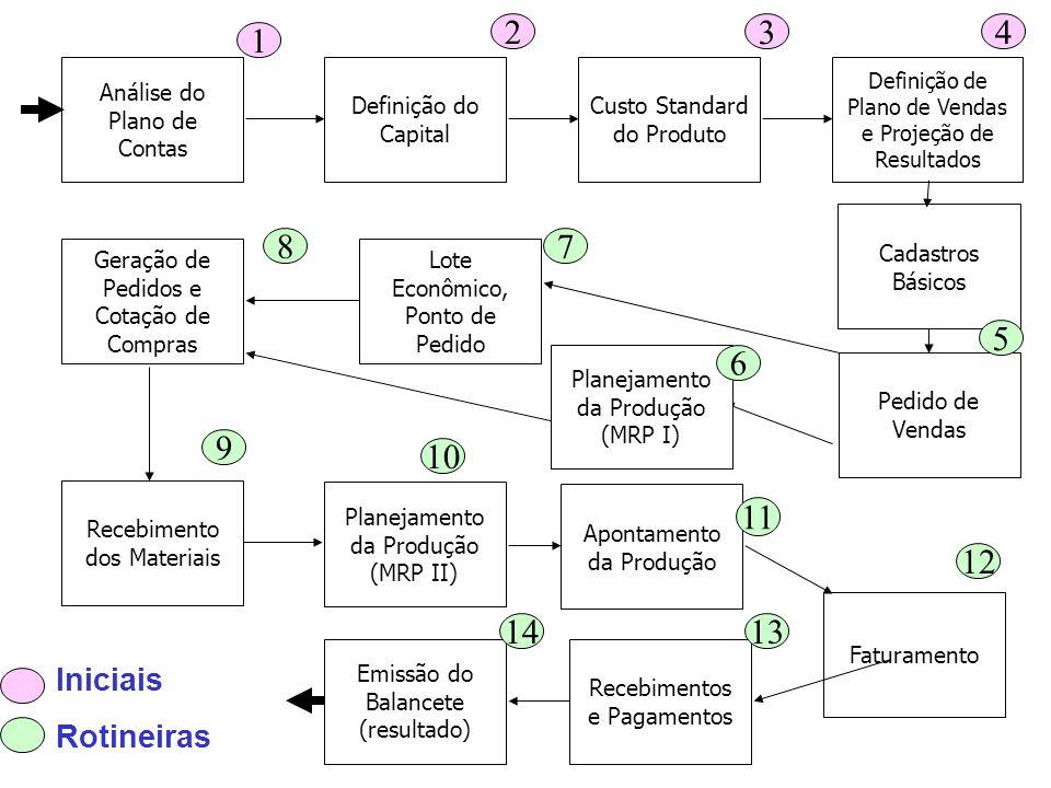 Análise do Plano de Contas Definição do Capital Custo Standard do Produto Definição de Plano de Vendas e Projeção de Resultados Pedido de Vendas Lote