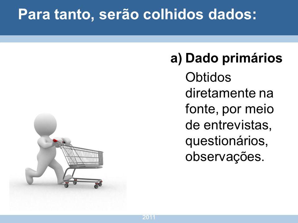 nivea@cordeiroeaureliano.com.br 2011 11 Para tanto, serão colhidos dados: a)Dado primários Obtidos diretamente na fonte, por meio de entrevistas, ques