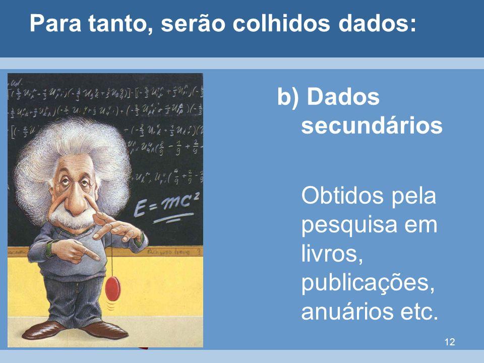 12 Para tanto, serão colhidos dados: b) Dados secundários Obtidos pela pesquisa em livros, publicações, anuários etc.